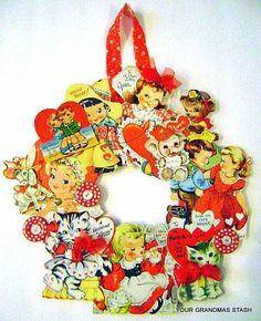 Vintage Childs ORIGINAL Valentines from the 1950s Embellished WreaTH