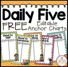 Daily Five Anchor ChartsDirections:Complete these Daily 5 Header T-charts on your computer or as a class while introducing Daily 5 in your classroom. Daily Five Cafe, Daily 3, Daily 5 Chart, Daily 5 Reading, Daily 5 Writing, Guided Reading, Work On Writing, Teaching Reading, Teaching Kids