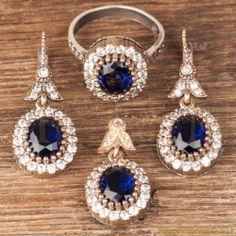 Hurrem Sultan Set Oval Shape Sapphire Color Turkish Ottoman Jewelry 925 SS