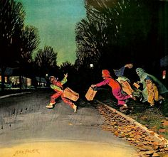 Trick or Treaters, art by John Falter. Detail from 1963 U.S. Royal Tire Ad.