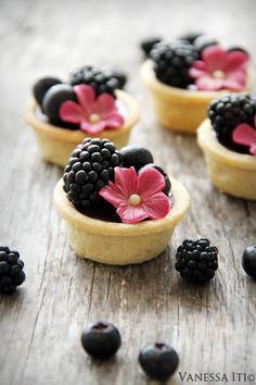 Chocolate tarts with summer berries.