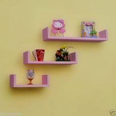 Onlineshoppee Wooden Handicraft Wall Decor Designer Wall Shelf Pack of 3 Pink