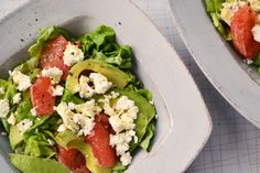 """Avocado & Pink Grapefruit Salad with Feta - this is so good!!  Nice combination of flavours, especially good with the """"live"""" butter lettuce."""