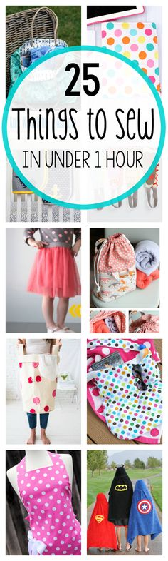 Diy Sewing Projects 25 Things to Sew in Under 1 Hour - Here are 25 quick and easy sewing projects that can be sewn in an hour or less. Easy sewing patterns for all skill levels, including beginners. Diy Sewing Projects, Sewing Projects For Beginners, Sewing Tutorials, Sewing Hacks, Craft Projects, Sewing Tips, Sewing Ideas, Easy Projects, Dress Tutorials