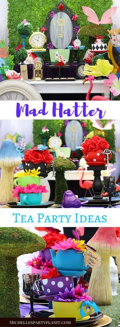 Welcome to wonderland! A sprinkle of Whimsy and a dash of chaos bring this Mad Tea Party to life! Complete with tutorials for centerpieces and more by Michelle's Party Plan-It.