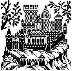 Castle 1 and 2. cross stitch pattern. Instant download.