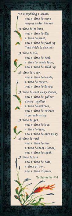 Cross Stitch A Time For...Ecclesiastes 3:1-8 www.joyfulexpressions.us