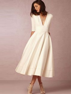 French Romantic V-Neck Half Sleeve Women's Maxi Dress