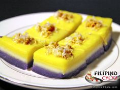 This is Sapin Sapin (Steamed Coconut Layer Pudding). Sapin-sapin is a dessert in Philippine cuisine that consists of layered glutinous rice and coconut. It is made from rice flour, coconut milk, sugar, water, and coloring with coconut flakes sprinkled on top. This is one of the Filipino's favorite mid-day snacks. See our recipe here: http://www.filipinochow.com/sapin-sapin-steamed-coconut-layer-pudding/