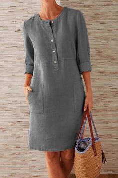 Style: Casual Pattern: Solid Detail: Button, Pockets Front Collar: Round Neck Sleeves Type: Long Sleeves Length: Midi Material:Linen, Cototn Season: Summer, Fall Occasion: Daily Life, Going Out Daytime Dresses, Casual Dresses, Fashion Dresses, Midi Dresses, Plus Size Dresses, Dresses For Sale, Skinny Jeans Kombinieren, Long Sleeve Midi Dress, Cotton Skirt