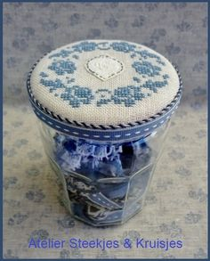 Bonne Maman jar with embroidery