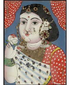 Portrait, Thanjavur, India. Ca. 1860 This portrait shows a South Indian dancing-girl holding a flower. A local Thanjavur artist painted it on glass, using gouache (opaque watercolor paint) and gold leaf.