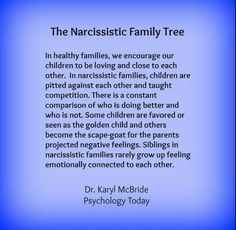 Narcissistic mothers make toxic families.