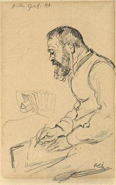 Emil Orlik (Czech, Portrait of Ferdinand Hodler, Drawing Sketches, Art Drawings, Illustrations, Illustration Art, Local Painters, Monochromatic Art, Travel Sketchbook, Aubrey Beardsley, Gustav Klimt