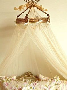 gilded frame bed canopy holder white tulle curtain stationary