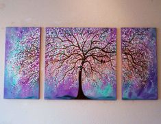 Large Commission Original oil Painting -Violet, Purple, mint cherry tree-and love birds- 48 x 24 from jeanvadalsmith on Etsy. Saved to art. #tree #canvas #painting #art #beautiful #pretty #purple #vt.