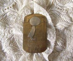Vintage Brass Cartouche Brooch Horus The Sun God Sterling Silver on Brass Brooch…