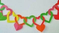 Guirnalda de corazones - Adornos para colgar.(Hearts garland), via YouTube.