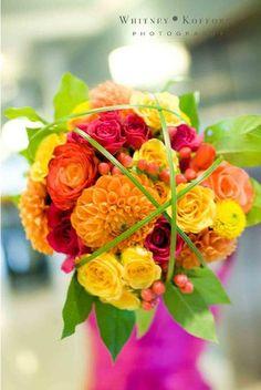 My wedding bouquet. Pink orange and yellow