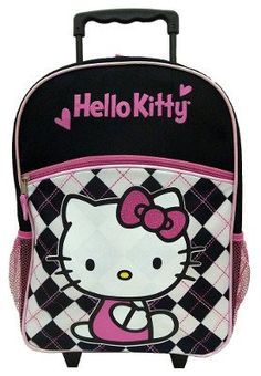 bb64e20203 This Hello Kitty 16 inch Rolling Backpack - Black and Pink Argyle is  perfect for vacation school and sleep overs. It features telescopic handle  adjustable ...