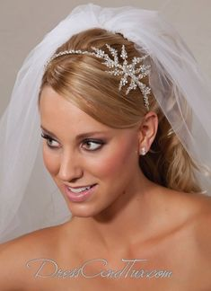 Beautiful bridal headband with sparkling clear Swarovski crystals and rhinestones with side starburst of crystals and rhinestone flowers Item# Bridal Veils And Headpieces, Headpiece Wedding, Wedding Veil, Dream Wedding, Headband Hairstyles, Wedding Hairstyles, Snowflake Wedding, Christmas Wedding, Winter Bride