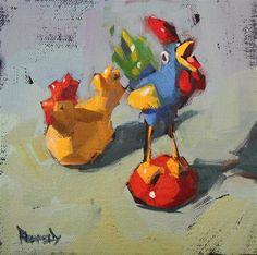 """Silly Chickens"" - Original Fine Art for Sale - © Cathleen Rehfeld"