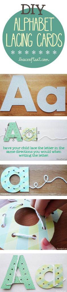 help your child learn to write at home...or anywhere! make these diy alphabet lacing cards using a cereal box, paper, and string. not only will they learn to identify the shape of the letter, but they can learn the correct way in which to write it.   www.