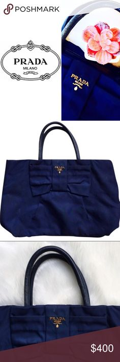 """• MEGHAN Monte Carlo • \\Prada// o \\Prada// Authentic limited edition large bow handbag by Prada ::: Made in Italy ::: Navy Blue ::: Genuine Leather straps ::: Gold hardware ::: Waterproof fabric some discoloration [see photos] ::: Has some wear to fabric + handles; please see photos + ask questions prior to sale ::: Fabric cotton///silk blend ::: Dry clean ::: Height [9""""] Width [13""""] Depth [9.5""""] ::: Originally $1800 :::: Doesn't come with dust bag or box///just a rare + stunning authentic…"""