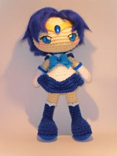 Sailor Mercury crochet doll http://www.etsy.com/es/listing/163325349/sailor-mercury-crochet-doll?ref=market