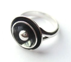 Vintage N E From sterling silver target ring, Danish silver, 1960s jewelry, Scandinavian silver, oxidised bullseye, modernist design, #477.