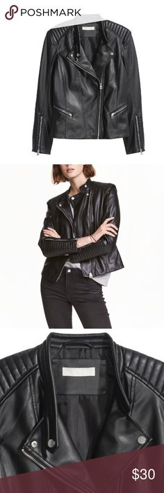 H&M Vegan Leather Biker Jacket Shoulder pads are more prominent when worn. Fully lined and very comfortable. Worn once. H&M Jackets & Coats