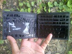 Handmade Genuine Black Crocodile Alligator Leather Mens Bifold Wallet Slim Purse #Handmade #Bifold
