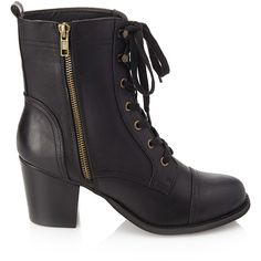 Forever 21 Women's  Lace-Up Combat Boots (170 HRK) ❤ liked on Polyvore featuring shoes, boots, ankle booties, ankle boots, heels, high heel bootie, high heel ankle boots, heeled booties, lace up booties and heeled combat boots