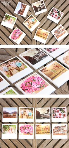"DIY ""Polaroid"" Photo Coasters - One Good Thing by Jillee Photo Coasters, Diy Coasters, Polaroid Foto, Diy Polaroid, Polaroid Crafts, Crafty Craft, Crafty Projects, Crafting, Cute Crafts"