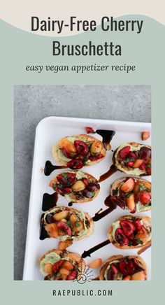This #vegan cherry bruschetta is easy to make and is the perfect #plantbasedsnack. It is made with homemade #dairyfree ricotta cheese making for the perfect combo. Cherries are a great source of vitamin C and packed with vitamin A. Vegan Appetizers, Vegan Dinner Recipes, Vegan Dinners, Vegan Recipes Easy, Appetizer Recipes, Vegan Food, Healthy Food, Toast Ideas, Bruschetta Recipe