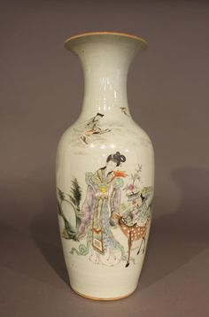 A late Qing baluster vase,   decorated with figures of immortals in a landscape with a colophon to the reverse 23 1/2 in. (60 cm.)   Estimate $ 2,500-3,000