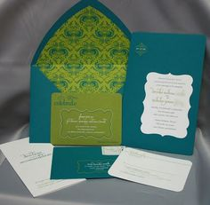 Teal and lime wedding invite stationary.  #GabrielCo #MyPerfectWedding