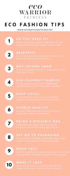 Eco Fashion Shopping Tips - Eco Warrior Princess infographic can find Shopping tips and more on our website.Eco Fashion Shopping Tips - Eco Warrior Princess infographic Sustainable Clothing, Sustainable Living, Sustainable Fashion, Sustainable Textiles, Sustainable Products, Sustainable Style, Sustainable Architecture, Fashion Mode, Slow Fashion