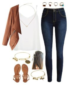 """""""Leather jacket"""" by rachel-danca ❤ liked on Polyvore featuring River Island, Kendra Scott, Aéropostale, Iosselliani and Alex and Ani"""