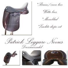 Patrick Leggaro Novus dressuurzadel, bruin met witte bies, afgewerkt met crocoleer. #mooi #chique #patrickzadels #dressuurzadel #paarden #tip #hetgareel #zadelpasservice #horses