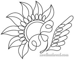 """Hand Embroidery Pattern - I'm going to work this in gold threads, methinks... though not sure about the """"leaf"""" on the side..."""