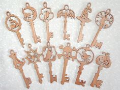 scroll saw silhouette paterns | SLD440 - Set of Spooky Halloween Keys & Ornaments (24 Ornaments)