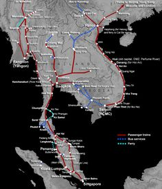 Map of train routes in Singapore, Malaysia, Thailand, Vietnam, Burma