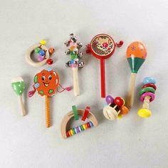 1 шт. новорожденных обучающие детские деревянные toys 0-18 месяцев Ребенок Красочные Bebe Колокольчик Детские Погремушки и Mobiles Геометрическая форма T1116