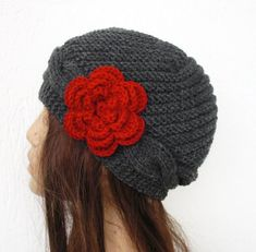 Hand Knit  hat Womens Hat Cable knit hat   in Charcoal by Ebruk, $40.00