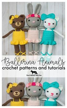 Ballerina Animals Crochet Patterns - The Friendly Red Fox Each doll is about 15 inches tall (depending on the ears!) comes with the slippers, dress and respective headgear! Crochet Animal Patterns, Crochet Doll Pattern, Stuffed Animal Patterns, Crochet Patterns Amigurumi, Amigurumi Doll, Crochet Animals, Crochet Dolls, Doll Patterns, Crocheted Toys
