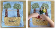 Suggestions for making a Quiet Book--made of fabric and notions, each page with a different simple activity for small hands to occupy themselves with.