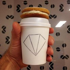Serving sweet brews and peanut butter cookies.  Artwork by Danielle O'Brien.  #snapacino #eat3280 #3280 #Warrnambool #warrnamboolcafe #warrnamboolcoffee #Warrnamboolbreakfast #greatoceanroad #specialtycoffee #takeawaycoffee #roughdiamond by rough_diamond_coffee