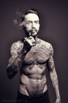 Black & White. Man. Fashion. Naked. Fit. Body. Tattoo. Hip. Beard. Chest. Portrait. Khandie Khisses.