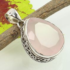 FREE SHIPPING 925 Sterling Silver Handcrafted Pendant Real ROSE QUARTZ Gemstone #Unbranded #Pendant